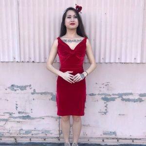 Romantic Red Velvet Vintage Inspired Dress